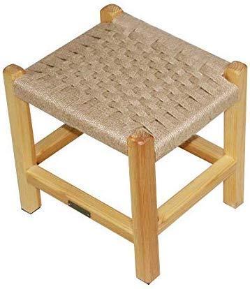 WJXBoos Chinesischer moderner Massivholzhocker Home Hanfseilhocker Kreativer niedriger Hocker Holzbank Schuh Hanfseil Flechten hellgelbe Hocker Bank (Farbe: hellgelb)