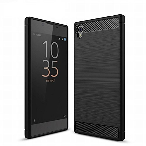 König Design Handy-Hülle kompatibel mit Sony Xperia Z6 Silikon Hülle Hülle Sturzsichere Back-Cover Handyhülle - Carbon - Schwarz