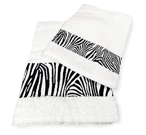 Tex family Juego de toallas de rizo Jacquard 1 + 1 cara e invitados cebra blanco y saco Washy