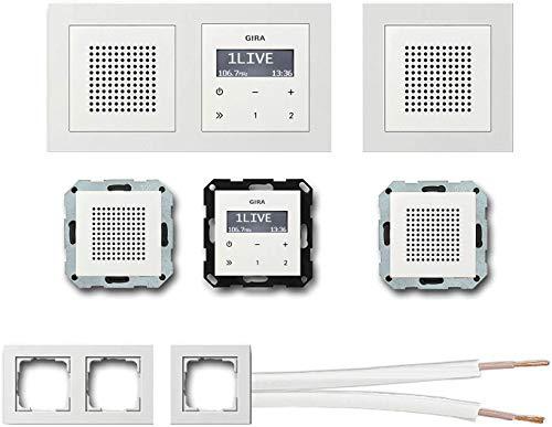 GIRA Unterputz UP RDS Radio 228403 Komplett-Set reinweiß glänzend mit 2 x Lautsprecher in 1 und 2 fach Rahmen (E2) + 10 Meter Lautsprecherkabel 2x0,75 mm² weiß 100{c7ee23e0f41d1fee00539bc165ac72578bc1e19db70621eb3047b26a7322f0b1} OFC