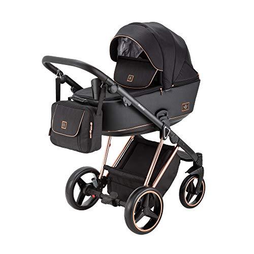 BeBe-Mobile 5902479590721 Kombikinderwagen 2in1 Kinderwagenset Babywanne Buggy Nanu Special Edition NA408, schwarz