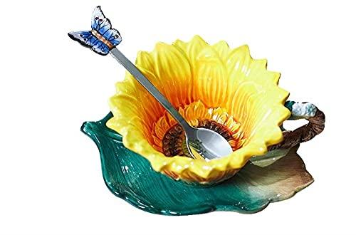 Theekopjes Zonnebloem Emaille Porselein Cups Keramische Koffiekopje Originele Woondecoratie Porselein Lepel Coffe Cup…