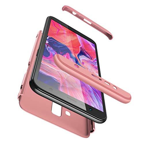 Qsdd Reemplazo para Samsung Galaxy J6 Plus 2018 360°Protección 3 en 1 Funda +1*Protector de Pantalla de Vidrio Templado TPU A Prueba de Golpes Resistente a Los Arañazos Siliconea Case-Oro Rosa
