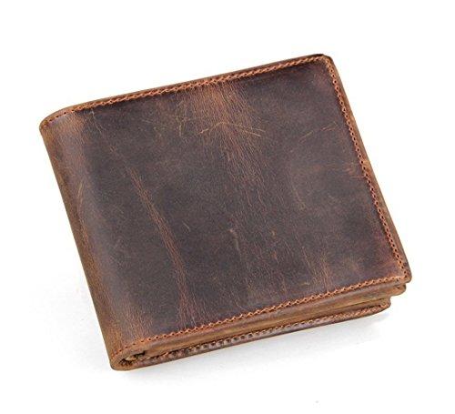 HRS Men's Genuine Leather RFID Blocking Vintage Italian Slim Bifold Handmade Wallet with ID Window and Zipper
