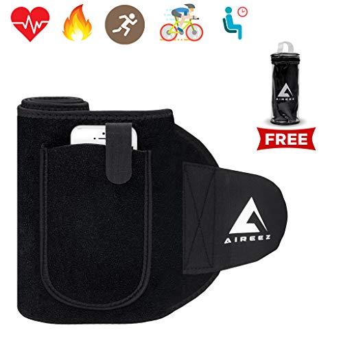 Aireez® 2 in 1 Bauchweggürtel, Fitnessgürtel, Fitness Gürtel, Schwitzgürtel mit Handytasche (Damen & Herren) Neopren Sauna Bauch Fit Gürtel für Sport - Joggen zum Abnehmen & Fettverbrennung