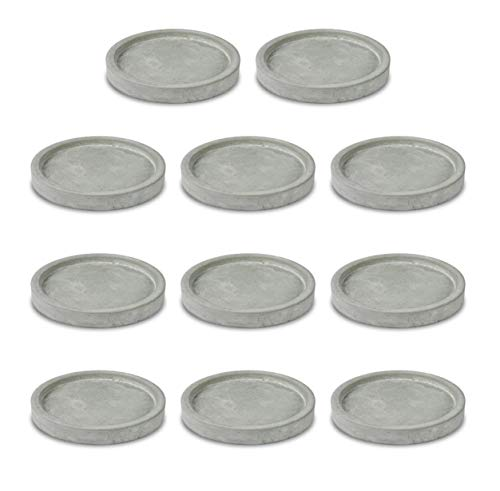 Müller Kerzen Set di 11 piatti in cemento, Ø 12,5 cm, grigio