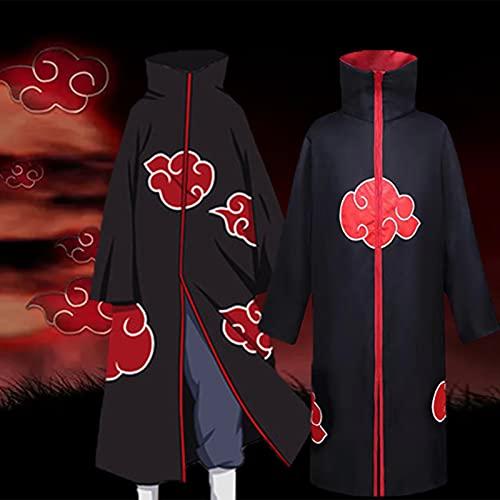 JQMAO Anime Mantel Halloween Kostüm Damen Herren Cosplay Langer Umhang Unisex Robe Karneval Weihnachten Party Deko (Black, L-(Length 110))