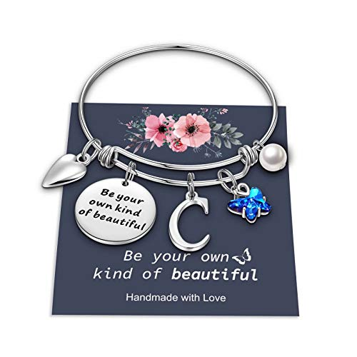 Butterfly Charm Bracelets for Women Girls, Dainty Butterfly Bracelet Expandable C Alphabet Initial Butterfly Bracelets Jewelry Gifts for Women Teen Girls