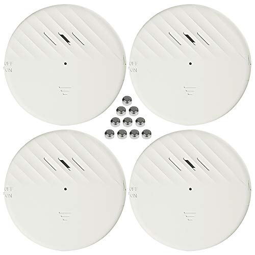 Shackcom 4pcs Ultra Delgado Alarma para Puertas y Ventanas, con sensores de vibración, para Sistema de Seguridad para el hogar y Seguridad Infantil - Antirrobo Detectores Sirenas con Pilas-125db