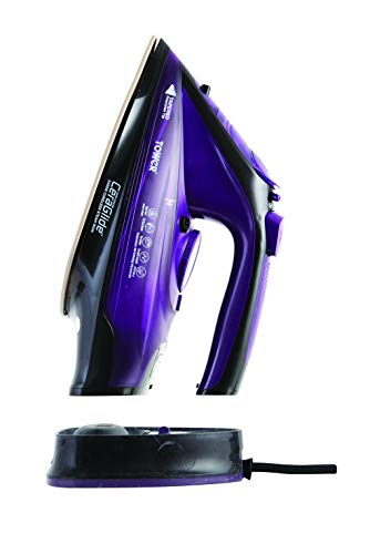Tower T22008 CeraGlide 2-in-1 Cord or Cordless Steam Iron with Non-Stick Ceramic Soleplate, 160g Steam Boost, Anti Drip, Anti Scale, Anti Calc and Self Cleaning Functions, 2400 W, Purple