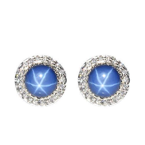 Orecchino a forma di stella blu con zaffiri naturali a 6 raggi in argento sterling 925 per le donne