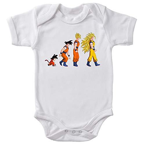 Okiwoki Body bébé Manches Courtes Blanc Parodie Dragon Ball Z - DBZ - Sangoku Super Saiyajin - La Théorie de l'évolution :(Body bébé de qualité supérieure de Taille 3 Mois - imprimé en France)