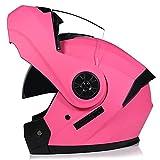 LHP Casco de Motocicleta Abatible Integrado Cascos modulares de Moto de Visera Doble con Visera Completa para Hombres y Mujeres Adultos Dot/ECE Homologado (Color : Pink, Size : XL/X-Large 61-62cm)