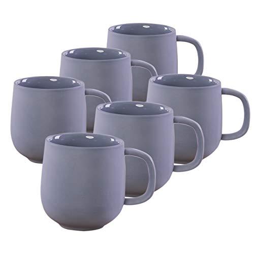 KØZY LIVING Keramik Tasse 6 Stk - 350 ml Tassen-Set mit Henkel in skandinavischem, nordic Design - perfekt für Kaffee oder Tee - rauchblau (matt)