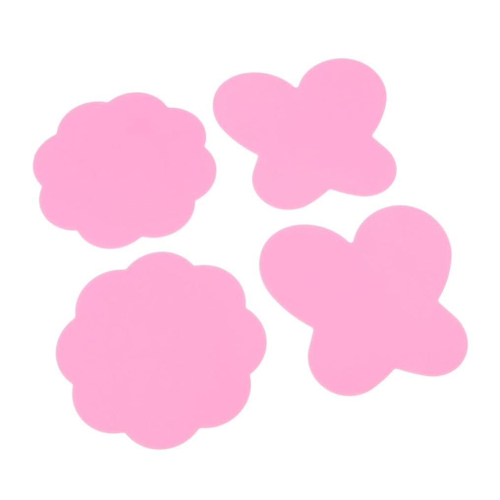 ミキシングペイント マット パレットマット 折り畳み式 シリコン 4個 全4色 - ピンク