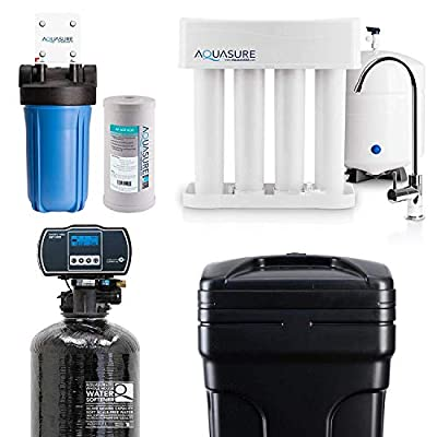 Aquasure Whole House Water Filtration Bundle w/Water Softener, 75 GPD RO System & Dual Purpose Sediment/GAC Pre-Filter