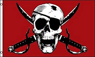 Crimson Pirate Flag - Beautiful Double-stitched 100% Polyester w/Brass Grommets 3' x 5'