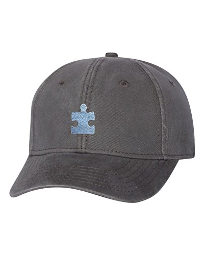 Go All Out Adjustable Charcoal Adult Puzzle Piece Autism Embroidered Dad Hat Structured Cap