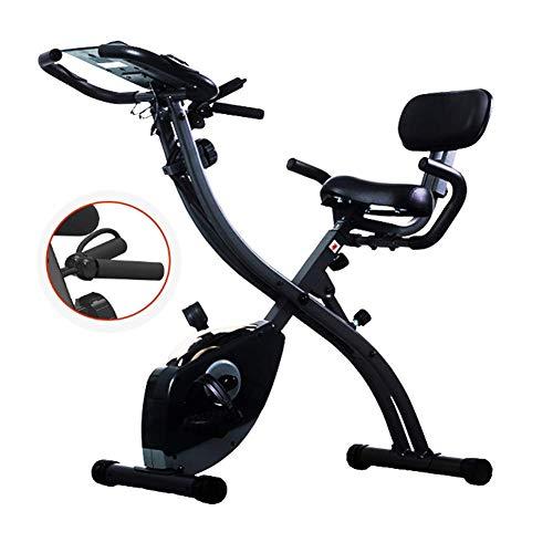 Bicicleta estática, cubierta plegable magnético silencioso Control de la aptitud de la bicicleta con tracción por cable y el asiento ajustable, ajustable resistencia, Control de las pulsaciones, Negro