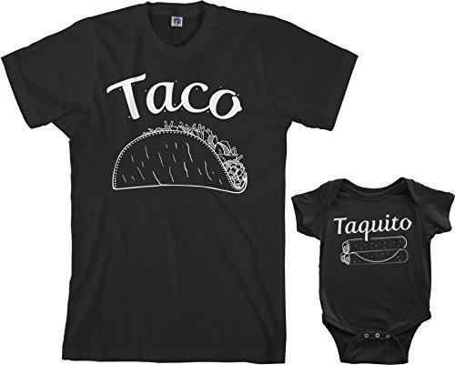 Threadrock Taco & Taquito Infant Bodysuit & Men's T-Shirt Matching Set (Baby: 6M, Black|Men's: XL, Black)