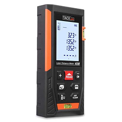 Laser Entfernungsmesser, TACKLIFE Distanzmessgerät, Messbreich 0.05~40m/±1.5mm, mit 2 Libellen Messeinheit M/In/Ft, IP54 Staub und Spritzwasserschutz, mit LCD Hintergrundbeleuchtung - HD-40
