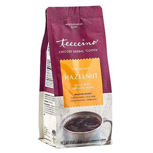 Teeccino Chicory Coffee Alternative – Hazelnut – Ground Herbal Coffee That's Prebiotic, Caffeine Free & Acid Free, Medium Roast, 11 Ounce