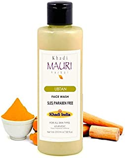 Khadi Mauri Herbal Ubtan Face Wash - Ayurvedic Skin Healer & Anti Pigmentation - SLES & PARABEN FREE - Enriched with Turmeric & Sandal -210 ml