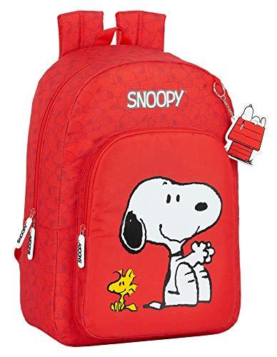 safta Mochila Escolar Adaptable a Carro de Snoopy, rojo, M
