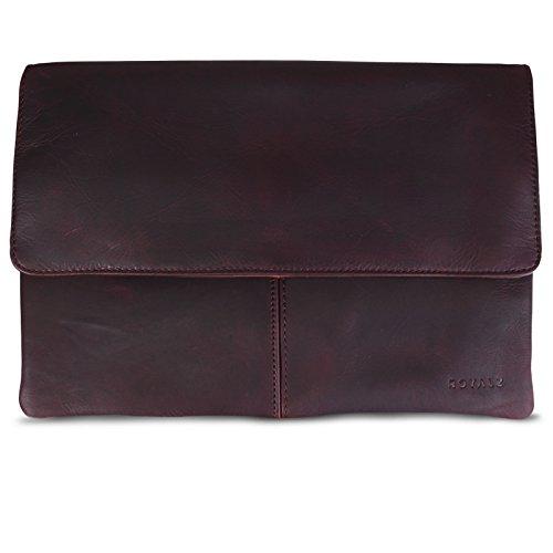 ROYALZ Leder Tasche für Apple MacBook 12 Zoll Lederhülle (ab 2015) mit Retina Bildschirm Notebook Schutztasche Sleeve Retro Vintage Erscheinungsbild, Farbe:Dunkelbraun