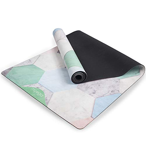 Myga RY1040 Terraza Vegane Wildleder-Gummi-Yogamatte - Trainingsmatte, rutschfeste Fitnessmatte, 183cm x 61cm x 3mm