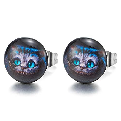10MM Azul Gato Círculo Botón Pendientes de Hombre Mujer, Aretes, Acero Inoxidable, Cool Estilo Animal Amantes, 2 Piezas