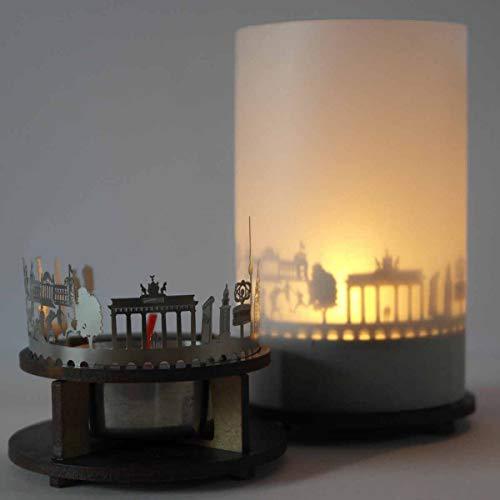 13gramm Berlin-Skyline Windlicht Schattenspiel Premium Geschenk-Box Souvenir, inkl. Kerzenhalter, Kerze, Projektionsschirm und Teelicht