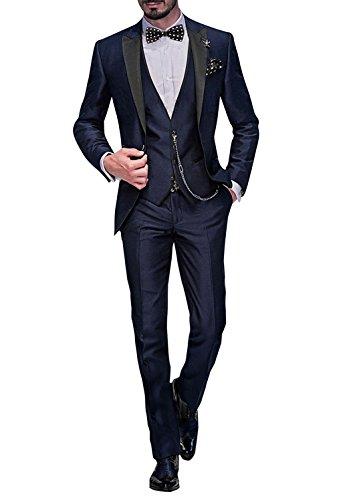 GEORGE BRIDE Herren Anzug 5-Teilig Anzug Sakko,Weste,Anzug Hose,Krawatte,Tasche Platz 002,Blau L