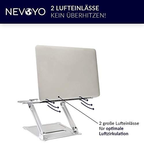 Nevoyo Laptop Ständer (höhenverstellbar mit Lufteinlässen) - Laptop Halterung inkl. Tasche - kompatibel mit MacBook, HP, Dell & Co. (bis 17,3 Zoll)