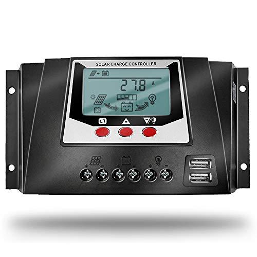 SolaMr 30A Solarladeregler 12V/24V/36V/48V Automatische Spannungserkennung Intelligenter Regler mit LCD Display für Solar Home System - WP3048D