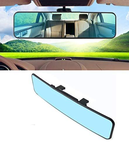 KEMANI Car Rearview Mirrors, 12.2 Inch Car Universal 310mm Easy Clip on Wide Angle Panoramic Blind Spot Fit Auto Interior Rear View Mirror Anti-glare Adjustable Convex Blue Surface
