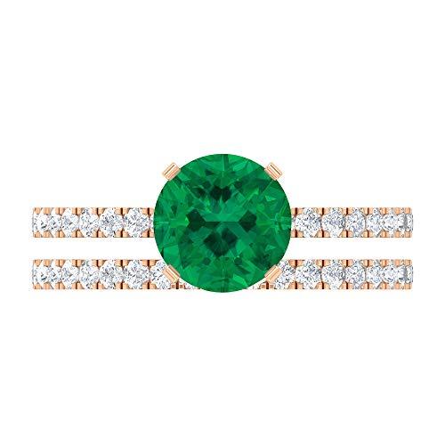 Rosec Jewels 14 quilates oro rosa Round Brilliant Green Moissanite Turmalina Verde