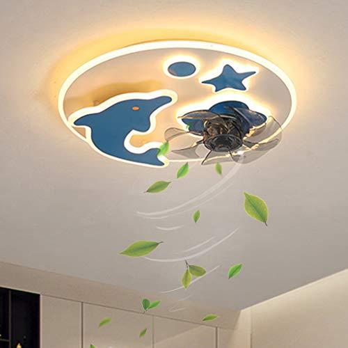Ventilador de techo para habitación de niños Ventilador de techo LED con iluminación Ventiladores de techo con luz Control remoto Lámpara de ventilador de techo silenciosa regulable para dormitorio