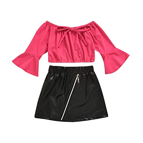sunnymi Bekleidungssets für Baby-Mädchen,1-5 Jahre Kleinkind Kinder Baby Mädchen Schulterfrei Oberteile + Enge Lederrock Outfit Kleidung
