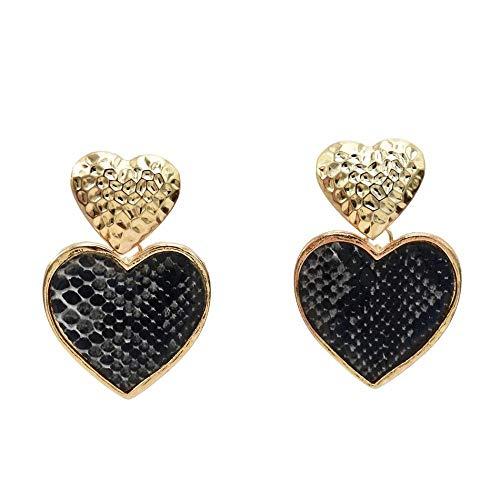 New ins Korean version of the net celebrity heart-shaped earrings Sen star pink love earrings-black