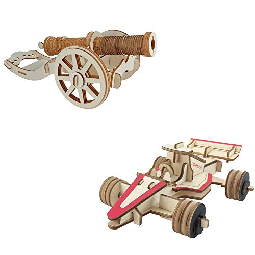 LMM 3D Wooden Craft Assembly Puzzle,Home Decoration Creative Thinking Game,Fast & Furious-Cannon And Racing,Best Gifts for Kids And Adults