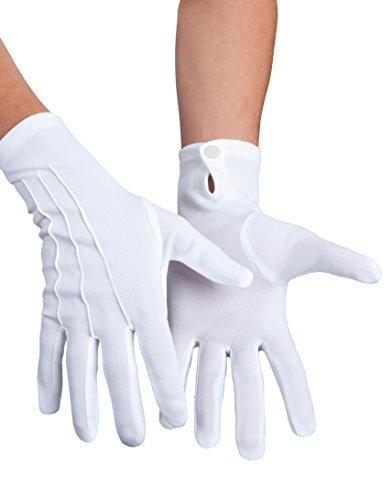 Boland 03080 - Handschuhe Basic mit Druckknopf, Weiß, für Erwachsene, Accessoire, Motto Party, Karneval