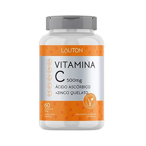 Vitamina C 500mg + Zinco 7mg 60 Caps Vegano Lauton Nutrition
