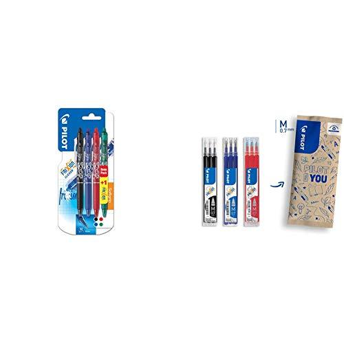 Pilot Frixion Clicker Confezione Da 4 Penne Gel A Linea Media, Multicolore & Frixion Mine Di Ricambio Per Penna A Sfera, Tratto 0,7 Mm, Confezione Da 9 (Blu, Nero, Rosso)