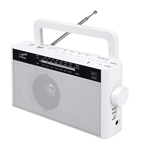 LTC Sona - Radio portátil retro con Bluetooth/AM/FM/MP3/USB/SD batería 1200 mAh antena telescópica (blanco)