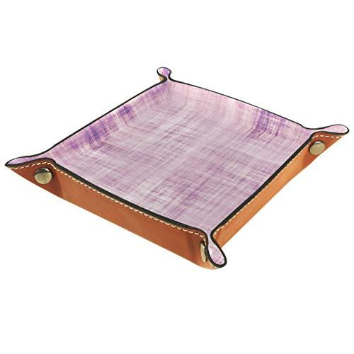 Organizador de almacenamiento de escritorio de cuero sintético, monedero, monedero, monedero, llavero, color morado