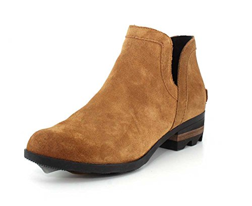 Sorel - Women's Lolla Cut Out Bootie, Leather or Suede Ankle Boot with Stacked Heel, Camel Brown, 9 M US