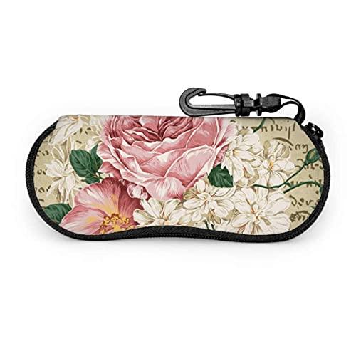 Estuche para gafas Vintage Shabby Chic Pink Rose Flowers Estuche para gafas de sol para niños Estuche para gafas de sol Estuche liviano con cremallera Estuche blando para gafas, 17x8cm