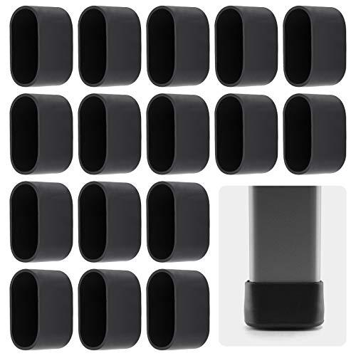 AILANDA 16pcs Stuhlbeinkappe Stuhlbeinschutz Bodenschutz Fußkappen für Gartenstühle Klappsessel Ovalrohr 38 x 20 mm, schwarz, aus Kunststoff
