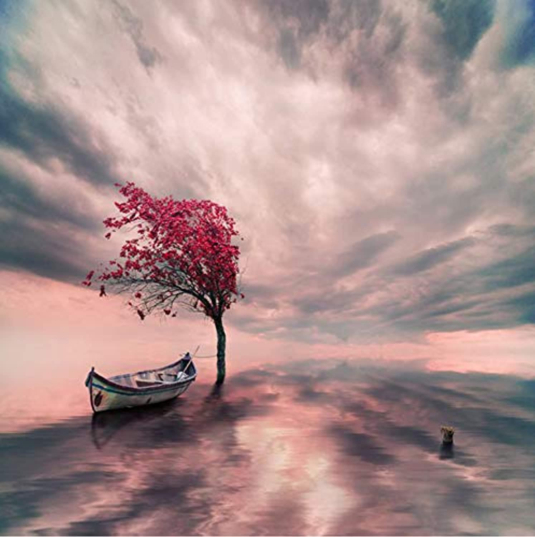 precio al por mayor Diy Diy Diy artesanía barco pintura de paisaje diamante y diamante flor bordado árbol embutido  precios bajos